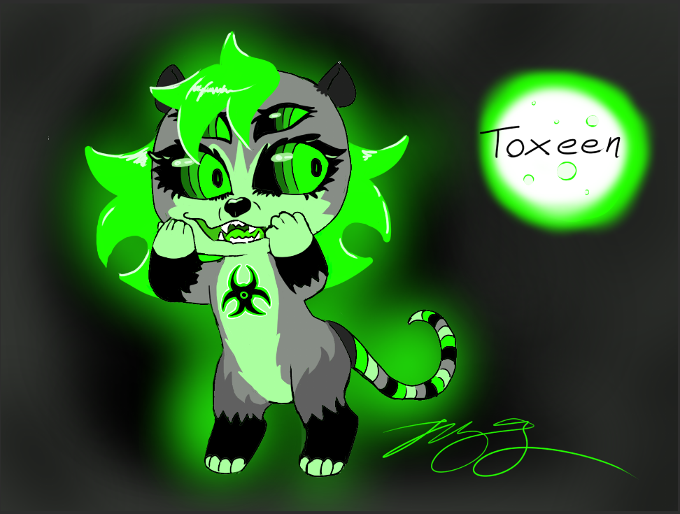 Toxeen the Possum - A toxic waste Opossum with eyes for eyebrows