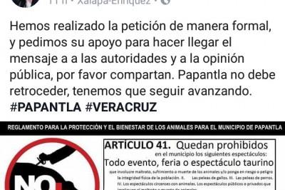 Activistas piden cancelar corrida de toros en Papantla
