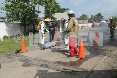 Simulacro por fuga de gas en Cosamaloapan