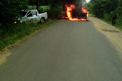 Tesorero de los productores de caña de la CNPR, fue secuestrado además incendian su camioneta