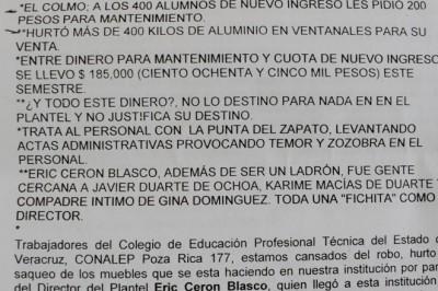 Denuncian corrupción en Conalep de Poza Rica