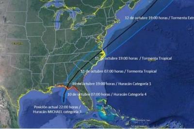 Huracán Michael evoluciona a categoría 4 al norte de la península de Yucatán