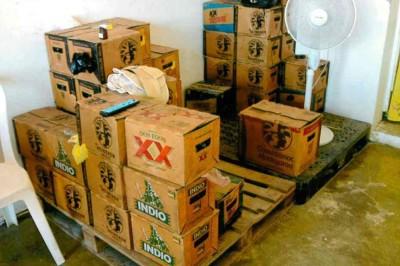 FGR Recupera mediante cateo 900 unidades de cervezas robada y asegura dos inmuebles