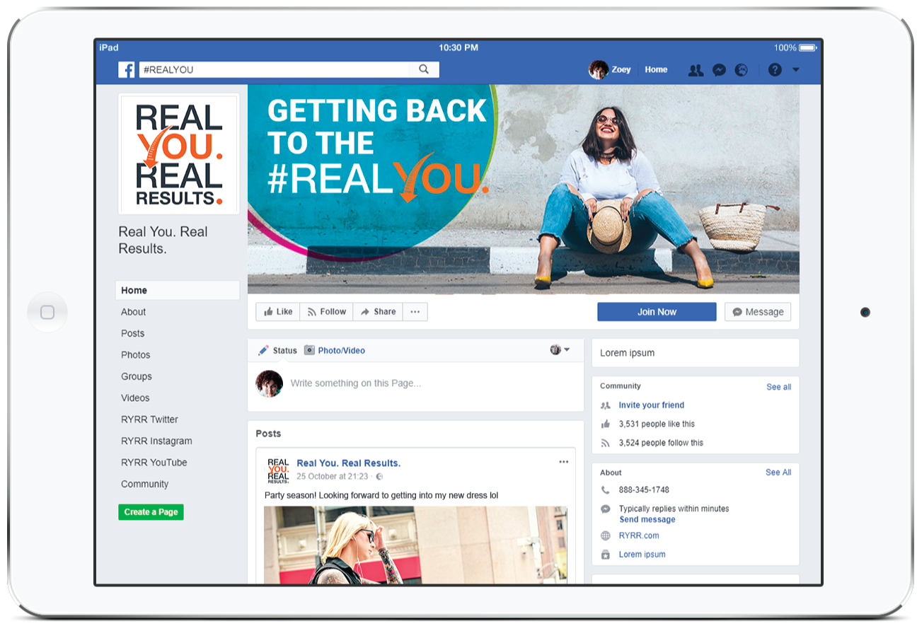 Real You. Real Results. Community Page