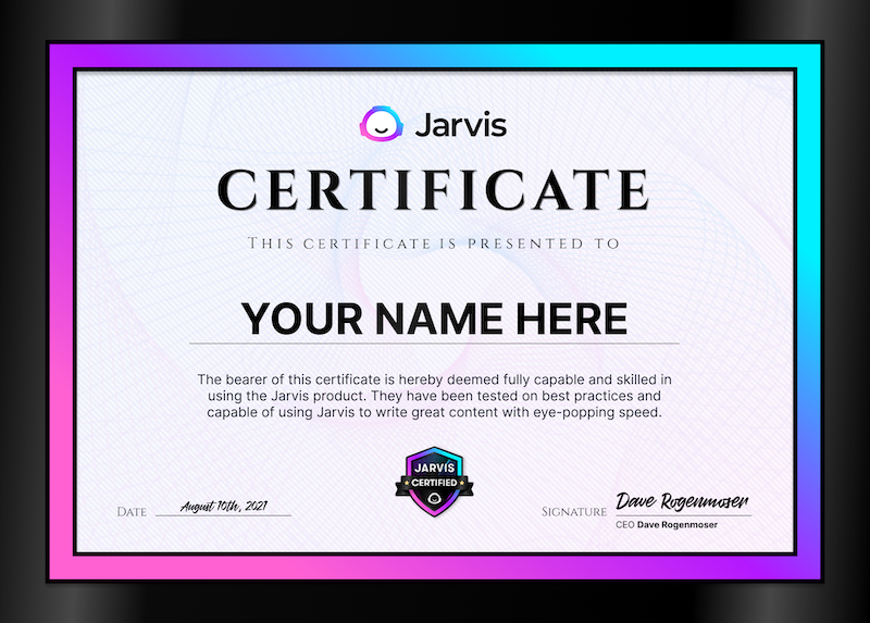 Jarvis certificate example