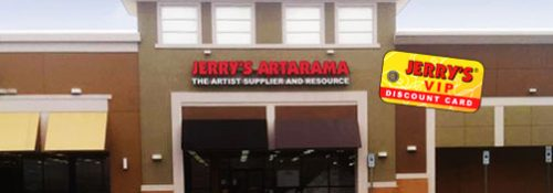 Jerrys Artarama Retail Storefront with VIP Discount & Sale Card on Top