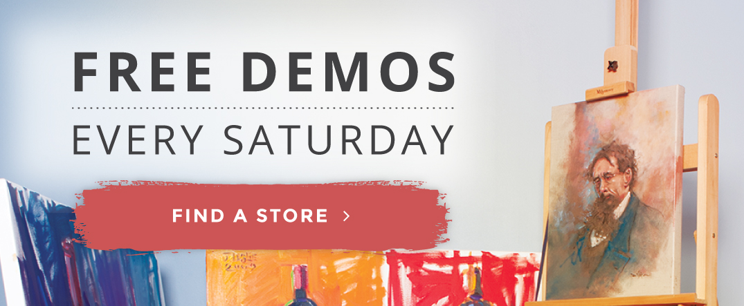 Free Art Demos & Classes Slide with Find a Store Button