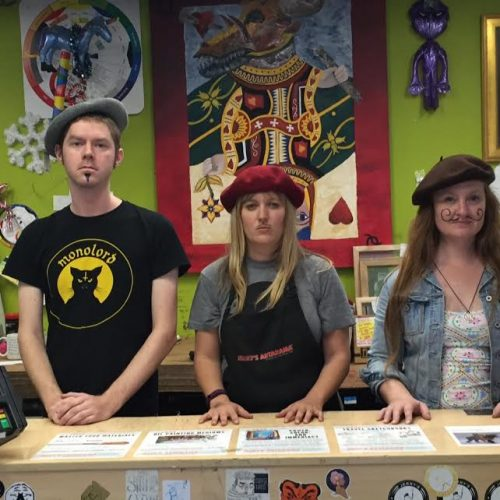 3 Staff Members of Jerry's Artarama Art Supply Store in Austin, TX with French Berets & Face Paint