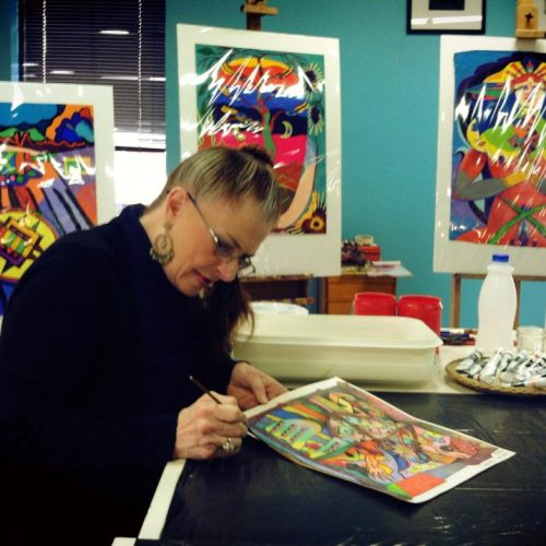 Artist Working on a Painting in Jerry's Artarama of Austin, TX