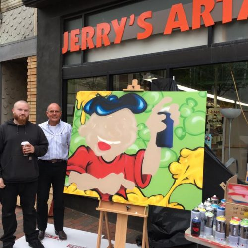 Artist & His Painting Outside Jerry's Artarama Art Supply Store in Wilmington, DE