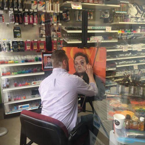 An Artist Painting inside Jerry's Artarama Art Supply Store in Wilmington, DE