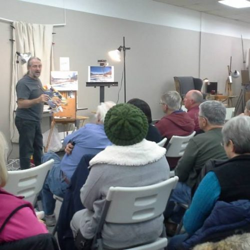 People Attending a Painting Workshop at Jerry's Artarama of Lawrenceville, NJ
