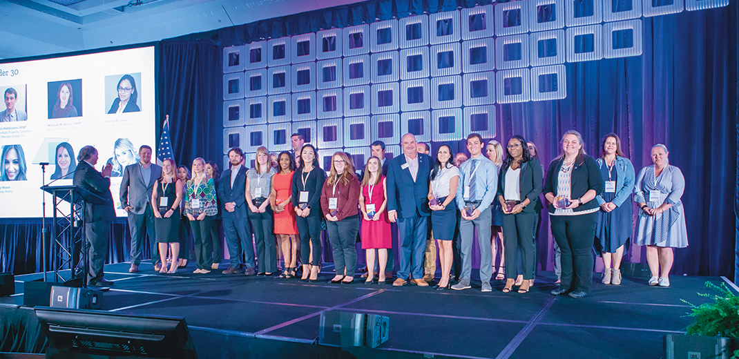 Next generation IREM members—30 Under 30 recipients, DISI Leaders, Student Scholars and Next Gen CPM Leaders—are recognized at the 2019 Global Summit
