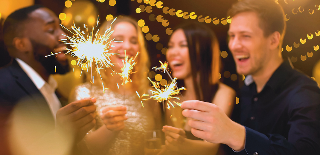Smiling Men And Women Holding Sparklers, Festive Atmosphere, Luxury Lifestyle