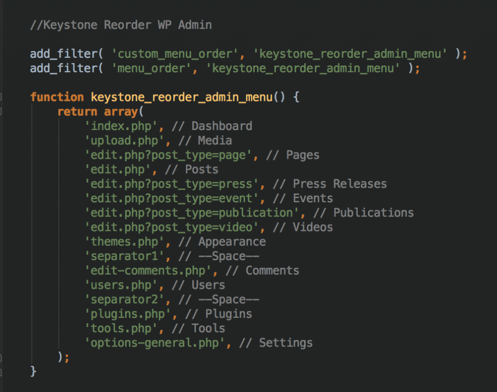 Wordpress Reorder Admin Menu | Keystone