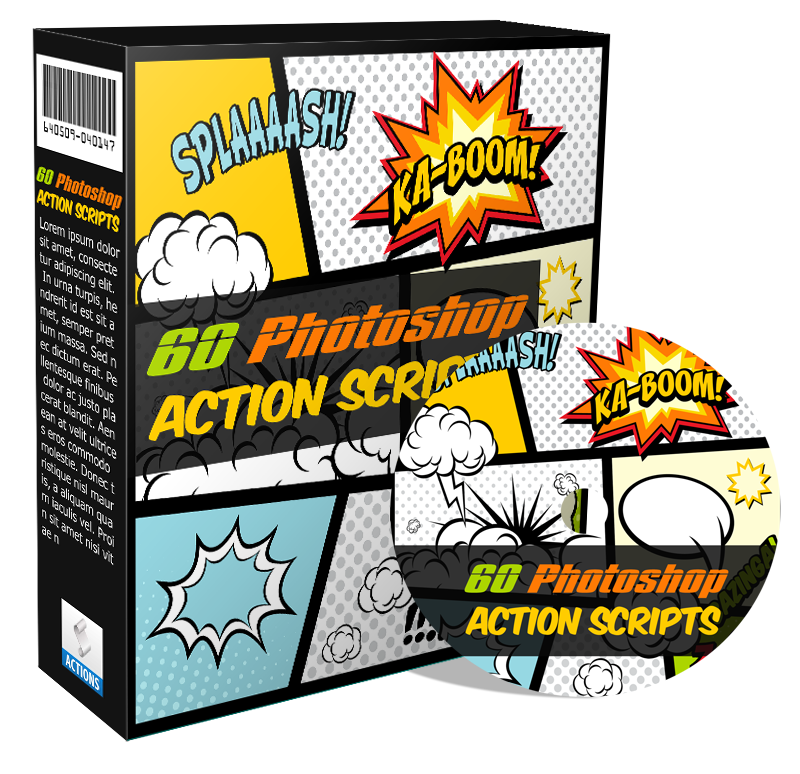 Jual koleksi 60 Photoshop Action Scripts Cover graphics