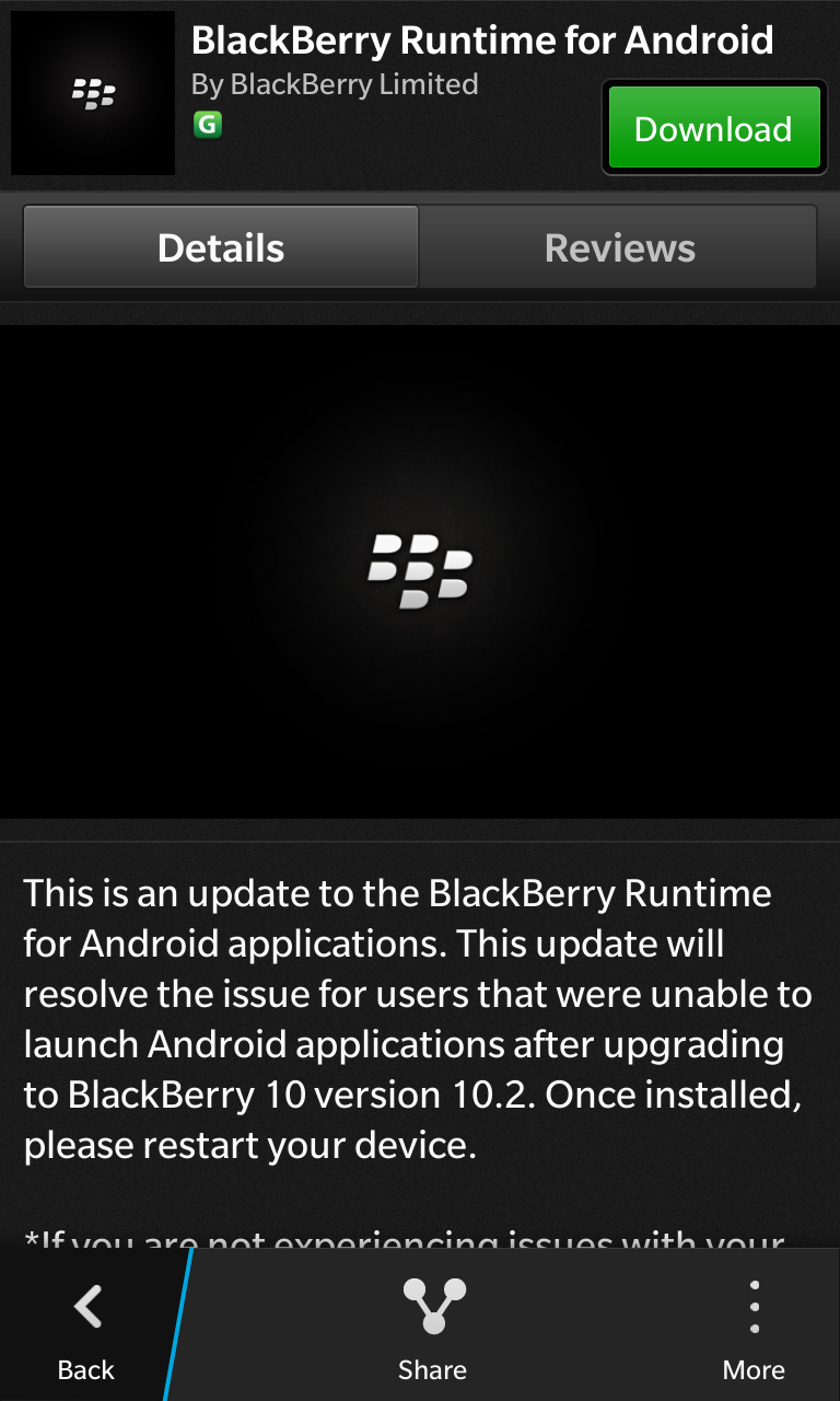 Download the BlackBerry Runtime for Android from BlackBerry