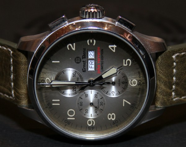 Watch manufacturer Ernst Benz and fashion designer John Varvatos have entered a unique partnership when the Varvatos clothing stores became authorized dealers that sold Ernst Benz watches. Recently, new watches were added to the unique collection, bringing a plus of color and diversity to the lineup. Available in orange, cream and olive green, the watches are part of the Ernst Benz Chronoscope collection and flaunt a special vintage look. The 47 mm case holds a Swiss ETA Valjoux 7750 automatic chronograph movement. Priced at approximately $7,000, the Ernst Benz John Varvatos timepieces will probably be limited to 250 pieces for each model. (5)