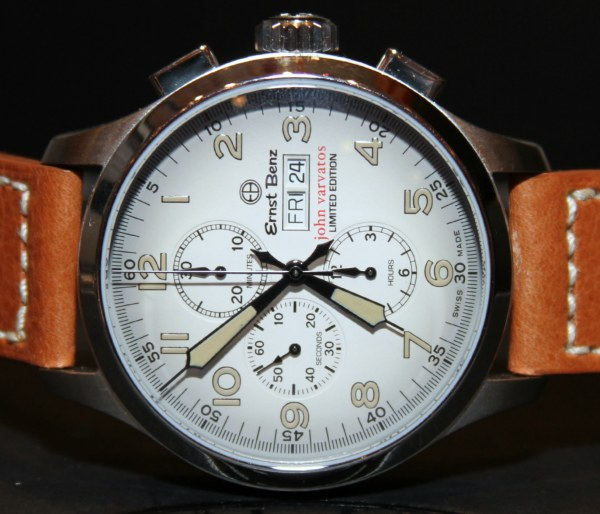 Watch manufacturer Ernst Benz and fashion designer John Varvatos have entered a unique partnership when the Varvatos clothing stores became authorized dealers that sold Ernst Benz watches. Recently, new watches were added to the unique collection, bringing a plus of color and diversity to the lineup. Available in orange, cream and olive green, the watches are part of the Ernst Benz Chronoscope collection and flaunt a special vintage look. The 47 mm case holds a Swiss ETA Valjoux 7750 automatic chronograph movement. Priced at approximately $7,000, the Ernst Benz John Varvatos timepieces will probably be limited to 250 pieces for each model. (1)