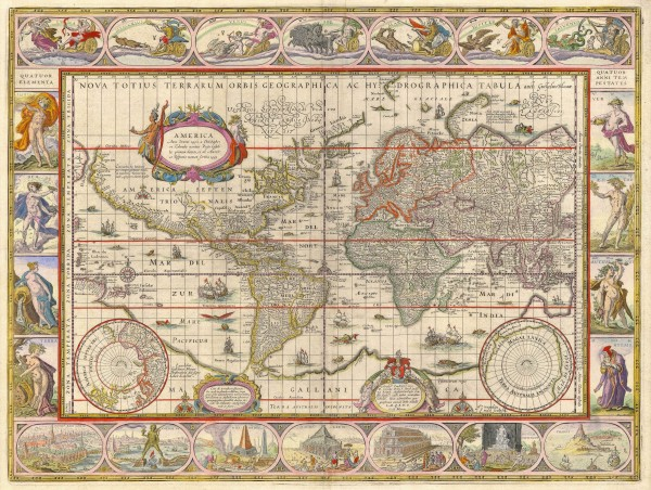 1635 World Map by Willem Blaeu for Auction