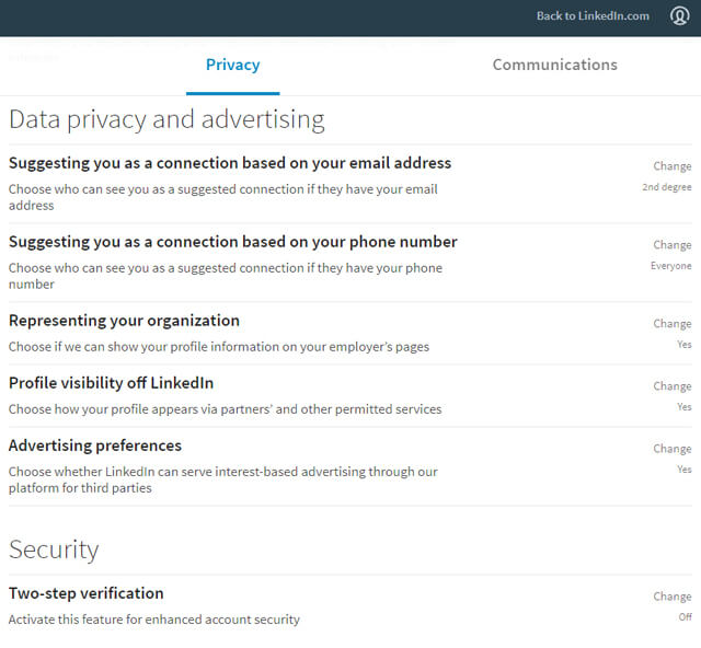 Linkedin data privacy and settings