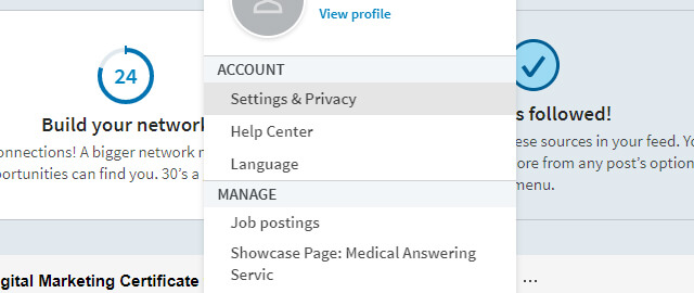 linkedin account setting for protecting social media accounts