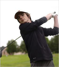 Matthew golfs at charity tournaments in his area.