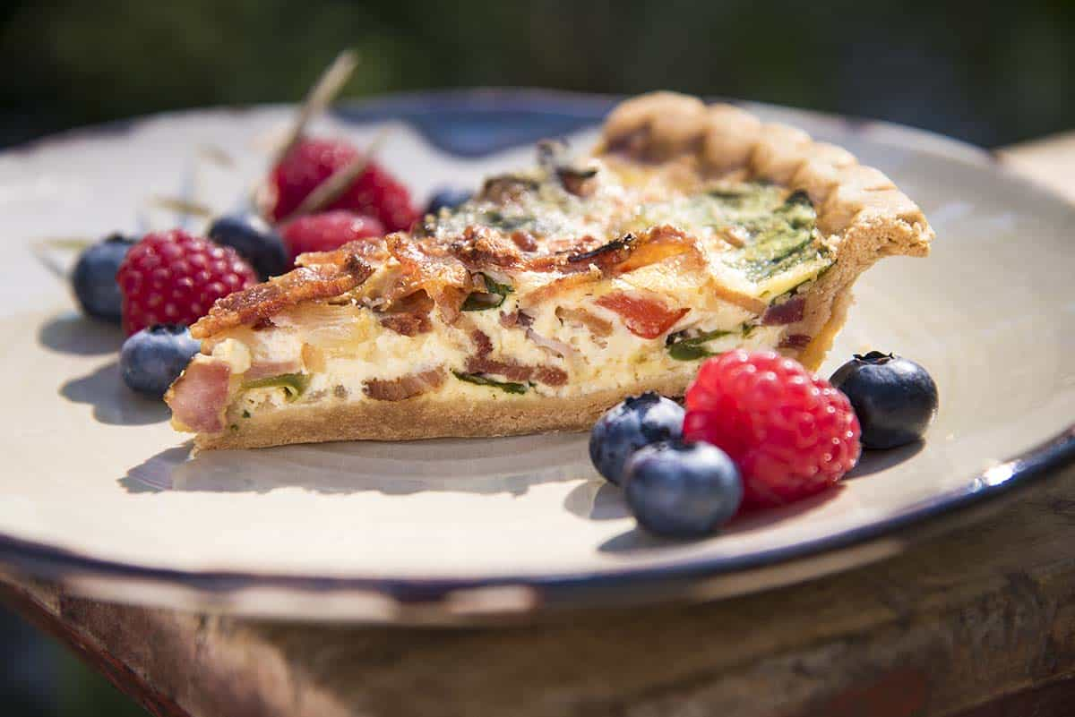 Quiche with berries on the side