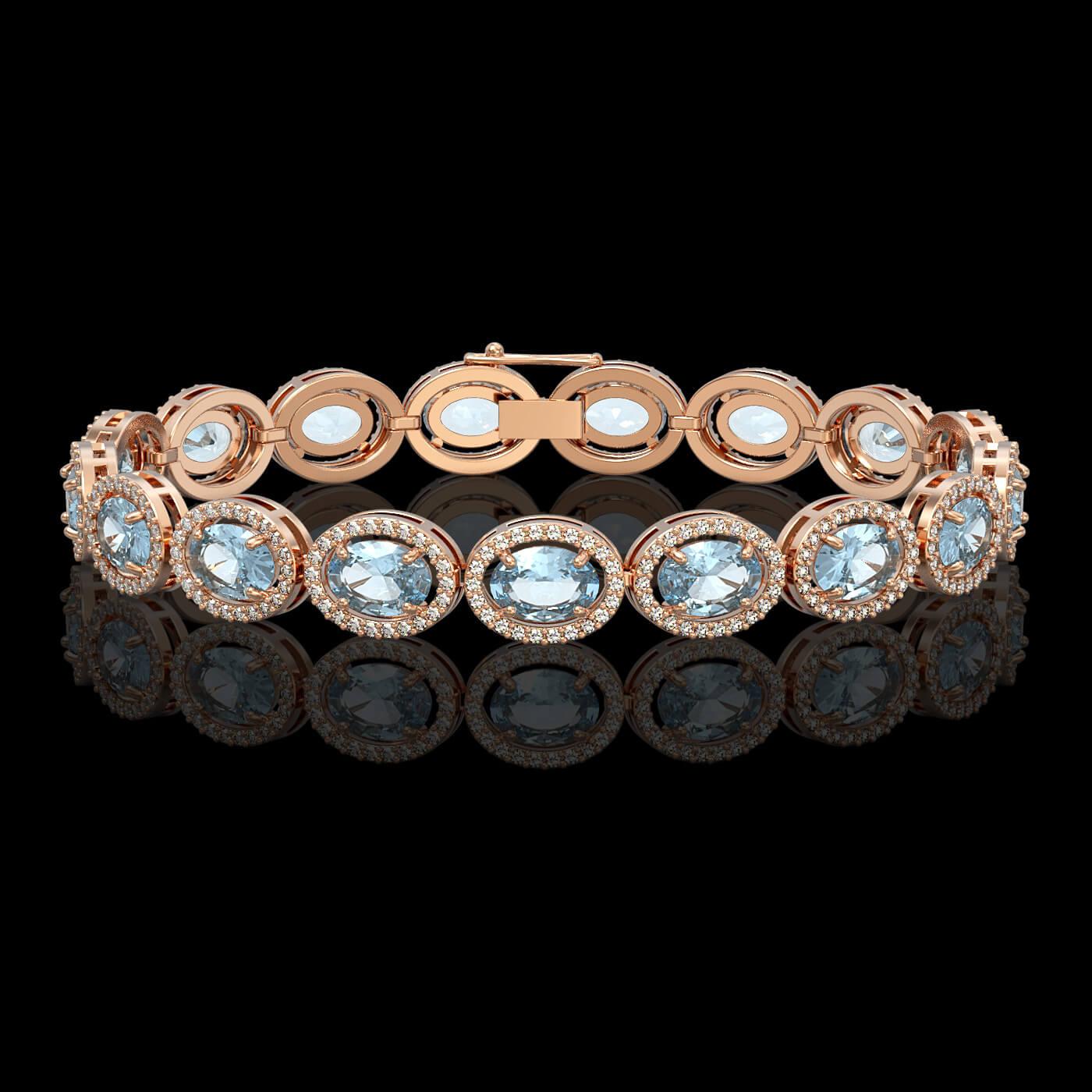 18.38 Ctw Aquamarine & Diamond Bracelet Rose Gold