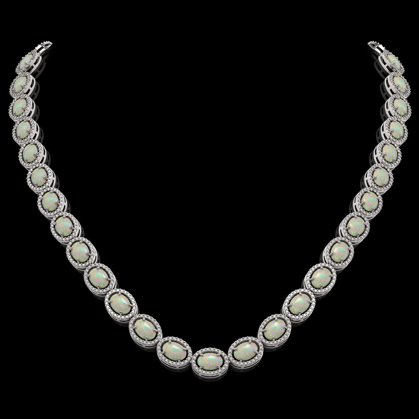 32.42 Ctw Opal & Diamond Necklace White Gold