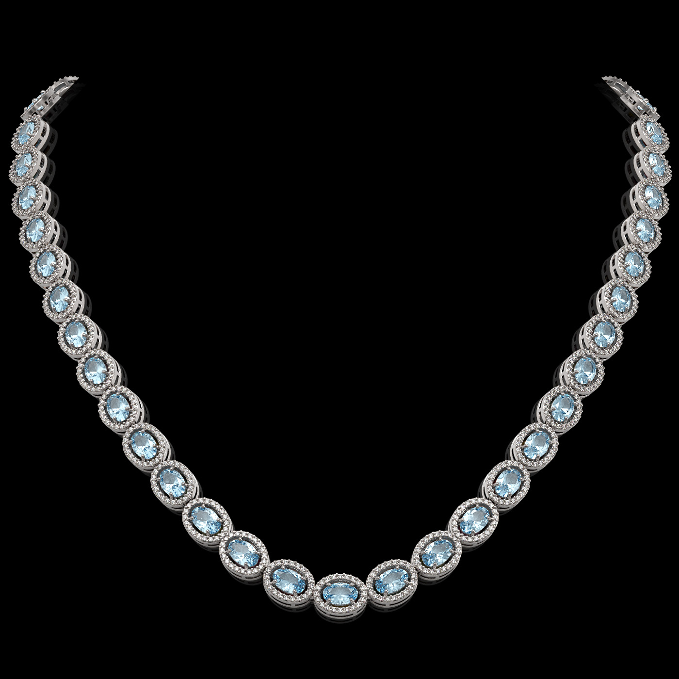33.25 Ctw Sky Topaz & Diamond Necklace White Gold
