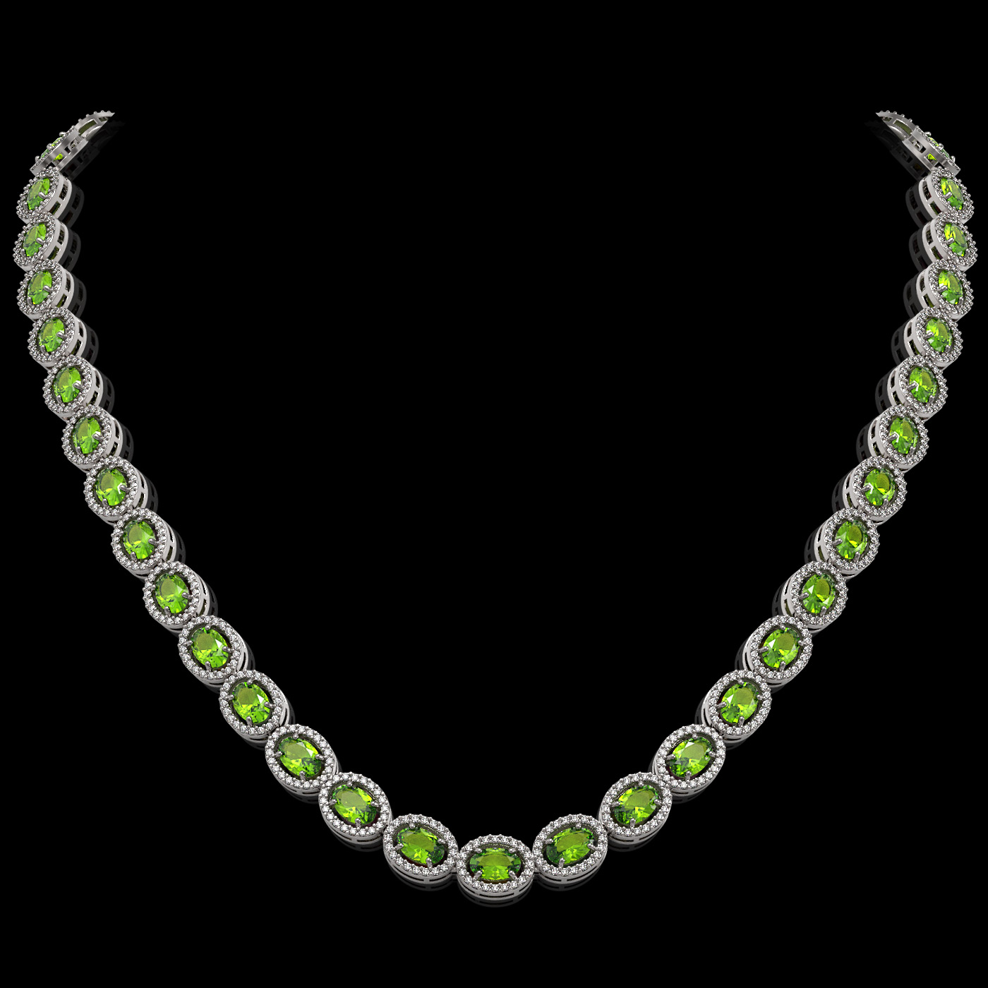31.1 Ctw Peridot & Diamond Necklace White Gold