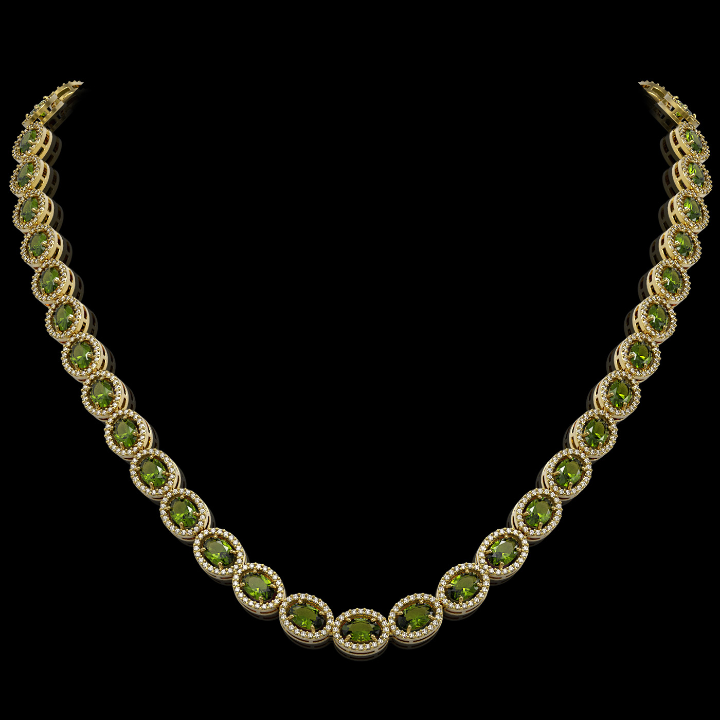 31.1 Ctw Tourmaline & Diamond Necklace Yellow Gold