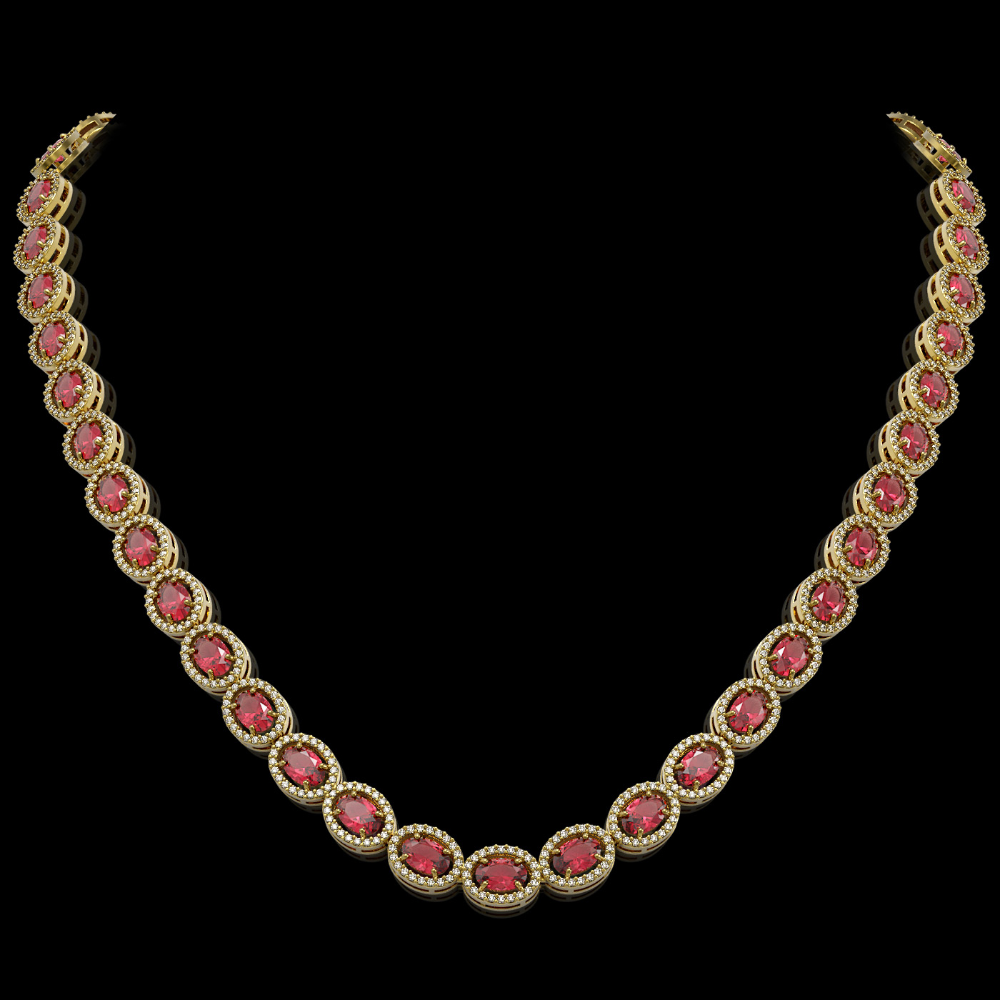 31.1 Ctw Tourmaline & Diamond Necklace Yellow Gold
