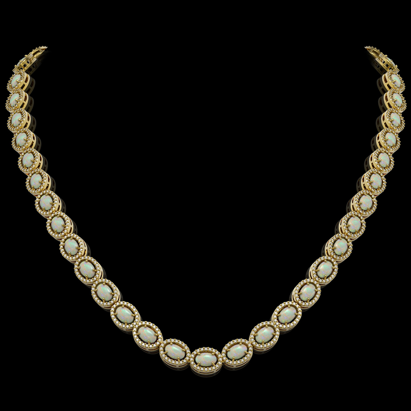 21.21 Ctw Opal & Diamond Necklace Yellow Gold