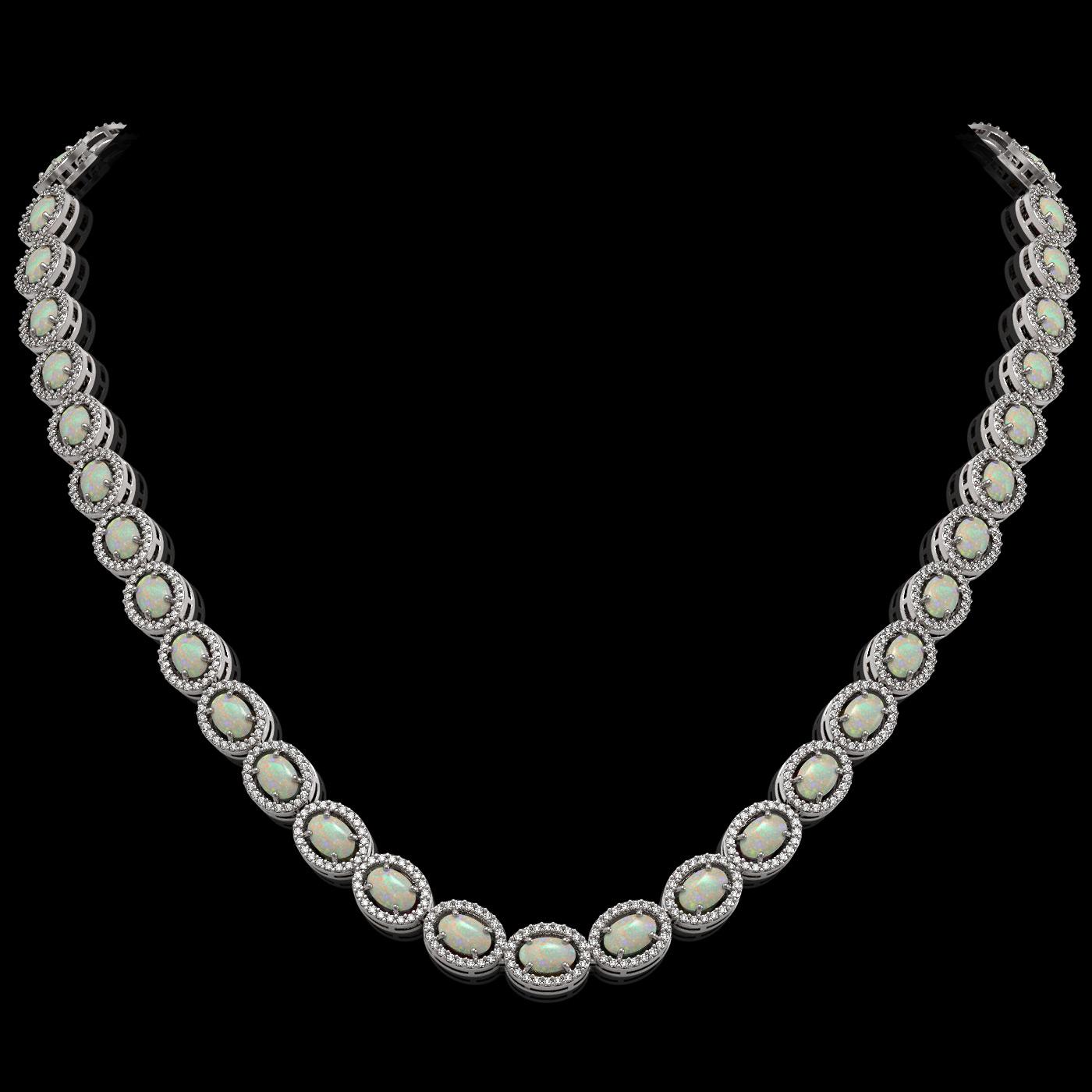 21.21 Ctw Opal & Diamond Necklace White Gold