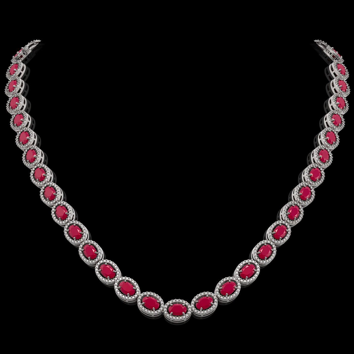 34.11 Ctw Ruby & Diamond Necklace White Gold
