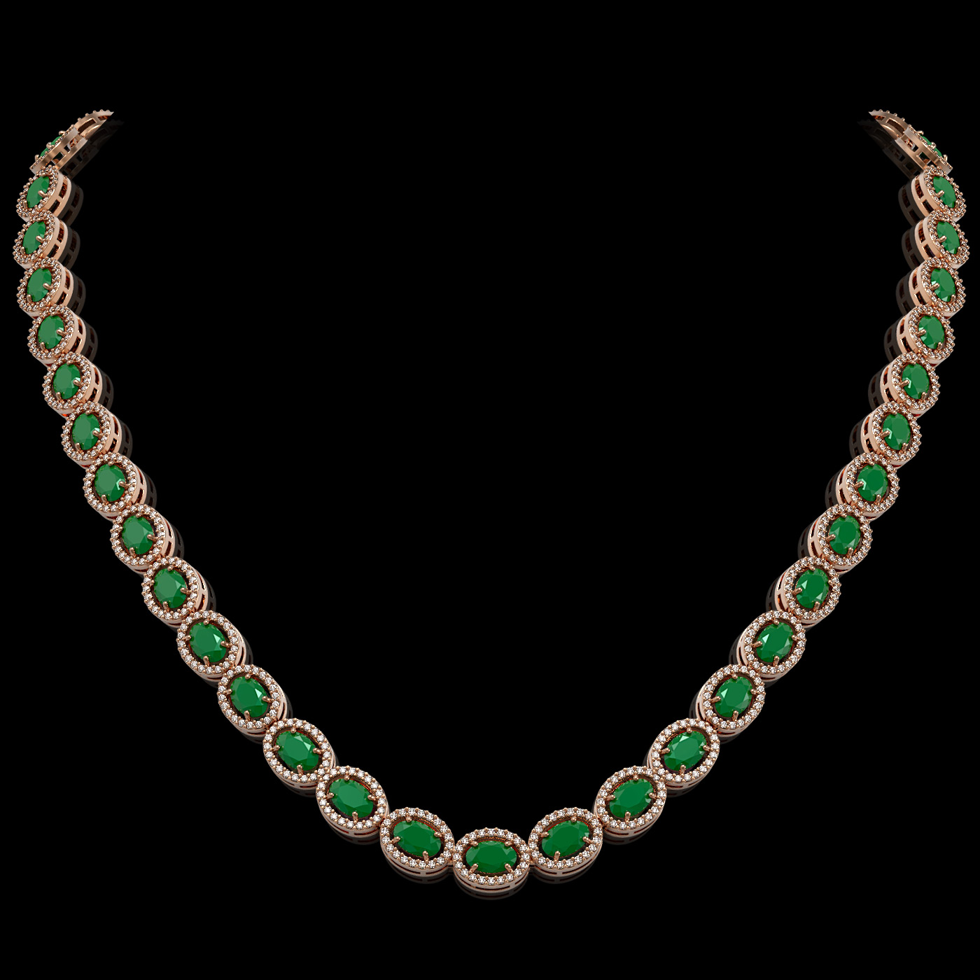 34.11 Ctw Emerald & Diamond Necklace Rose Gold