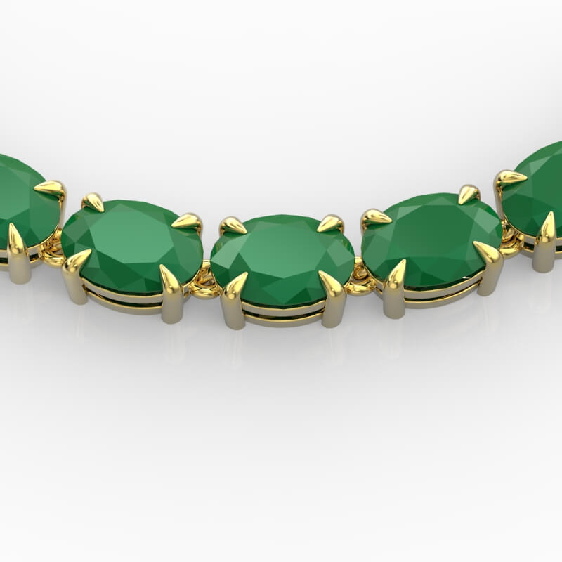 68 CTW EMERALD ETERNITY DESIGNER INSPIRED TENNIS NECKLACE 14K