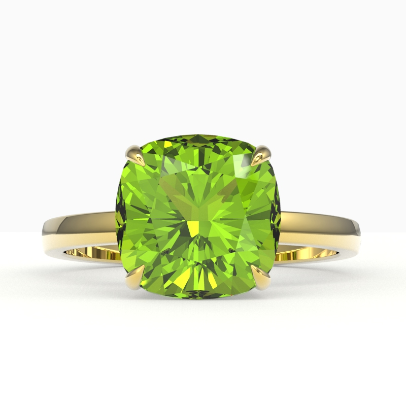 6 CTW CUSHION CUT PERIDOT DESIGNER INSPIRED SOLITAIRE STUD RING 18K
