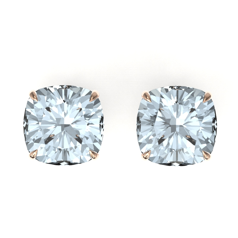 9 CTW CUSHION CUT  AQUAMARINE INSPIRED SOLITAIRE STUD EARRING