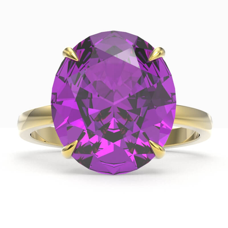 9 CTW AMETHYST DESIGNER SOLITAIRE ENGAGMENT RING 18K