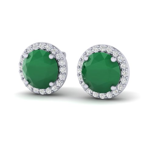 4 CTW EMERALD & HALO VS/SI DIAMOND MICRO PAVE EARRING SOLITAIRE 18K