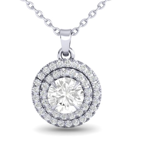 1 CTW MICRO PAVE VS/SI DIAMOND SOLITAIRE NECKALCE HALO 18K