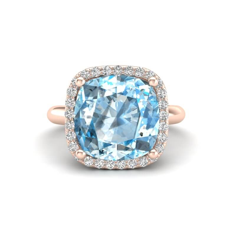 6 CTW SKY BLUE TOPAZ & MICRO PAVE HALO VS/SI DIAMOND RING 14K