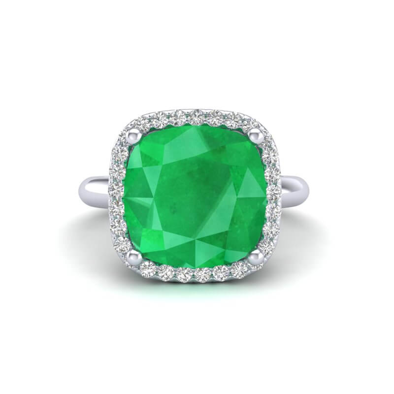 6 CTW EMERALD AND MICRO PAVE HALO VS/SI DIAMOND RING SOLITAIRE 18K
