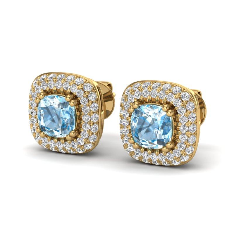 2.16 CTW SKY BLUE TOPAZ & MICRO VS/SI DIAMOND EARRING HALO 18K
