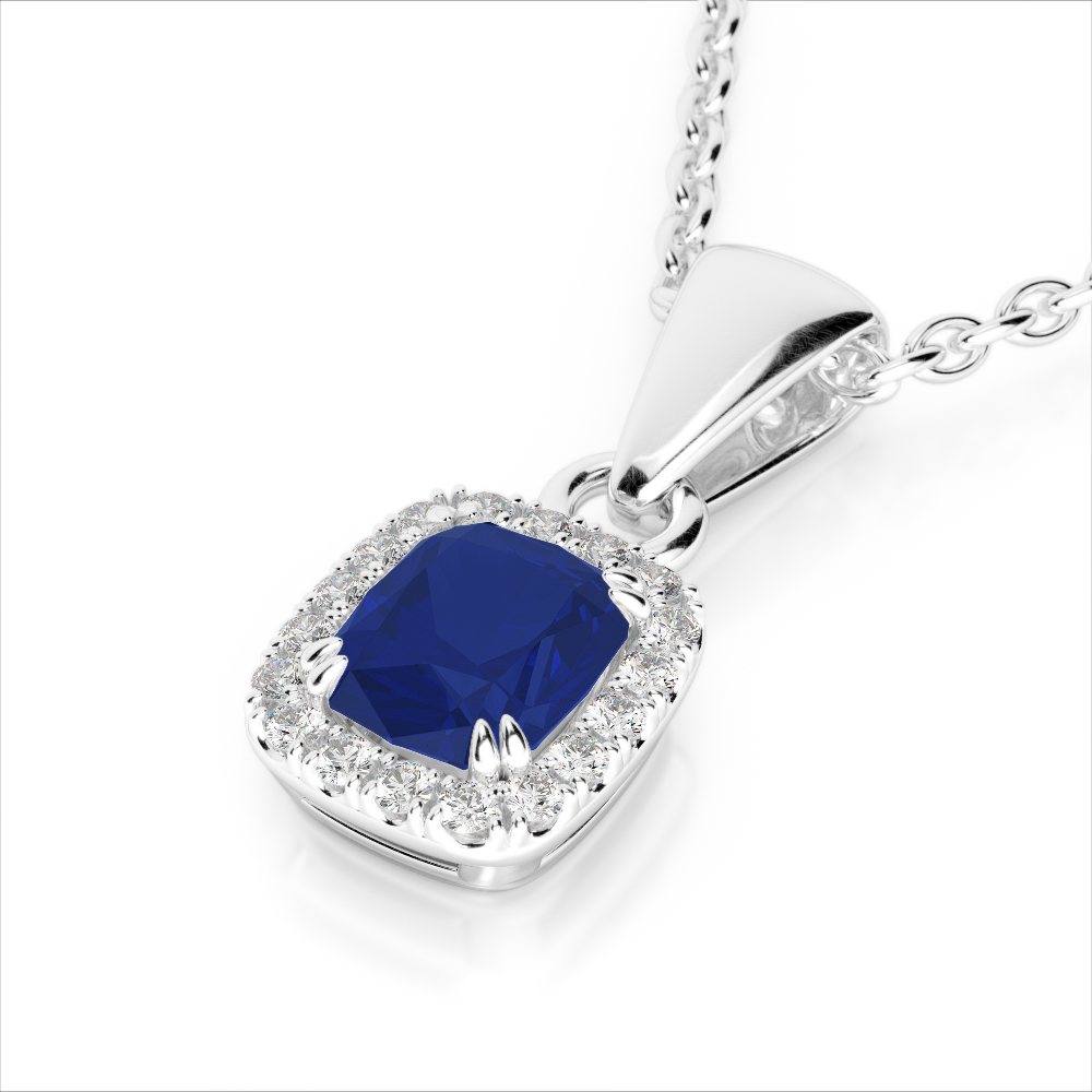 1.25 CTW SAPPHIRE & VS/SI DIAMOND CERTIFIED HALO NECKLACE MICRO PAVE