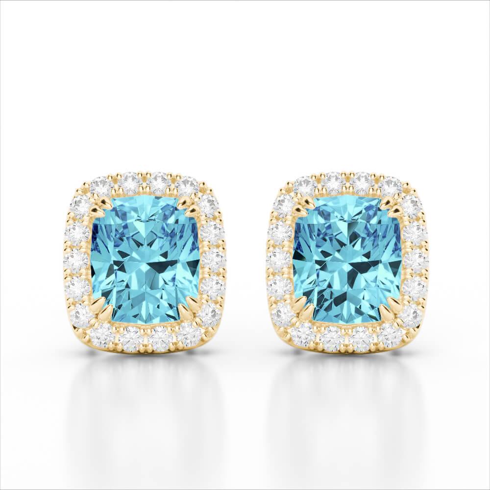 2.50 CTW SKY BLUE TOPAZ & MICRO VS/SI DIAMOND CERTIFIED HALO EARRING