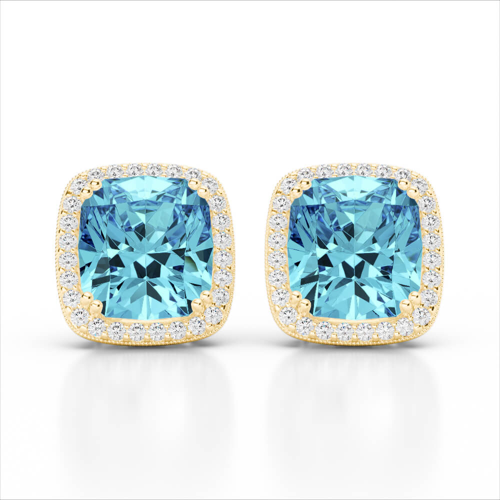 6.50 CTW SKY BLUE TOPAZ & MICRO VS/SI DIAMOND HALO EARRING 18K